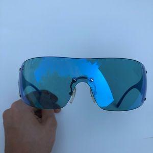 Christian Dior Blue iridescent shield sunglasses